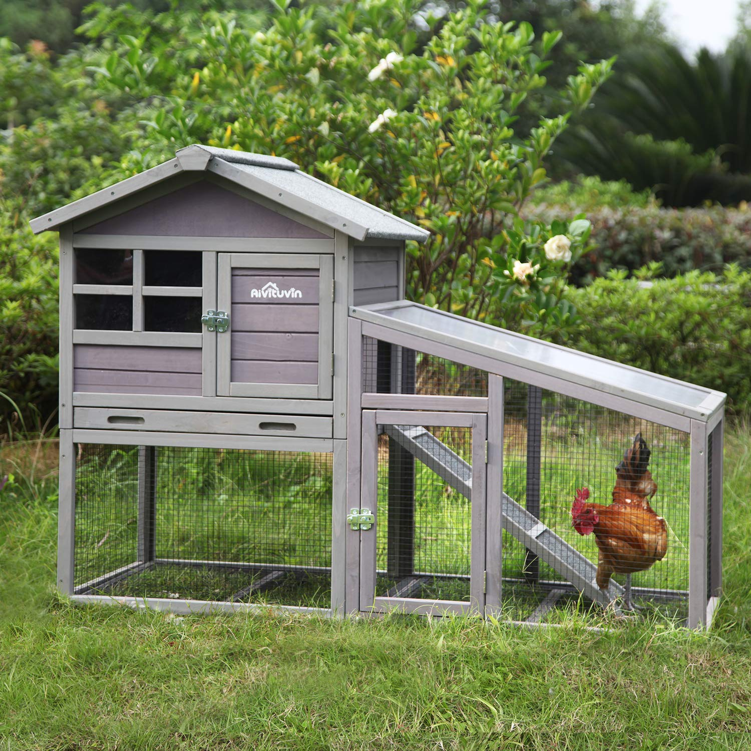 Aivituvin Chicken Coop Indoor and Outdoor,Rabbit Hutch with Removable Bottom Wire Mesh & PVC Layer,Deeper No LeakageTray,Wooden Hen House with Nesting Box,UV Panel by Aivituvin (Image #5)