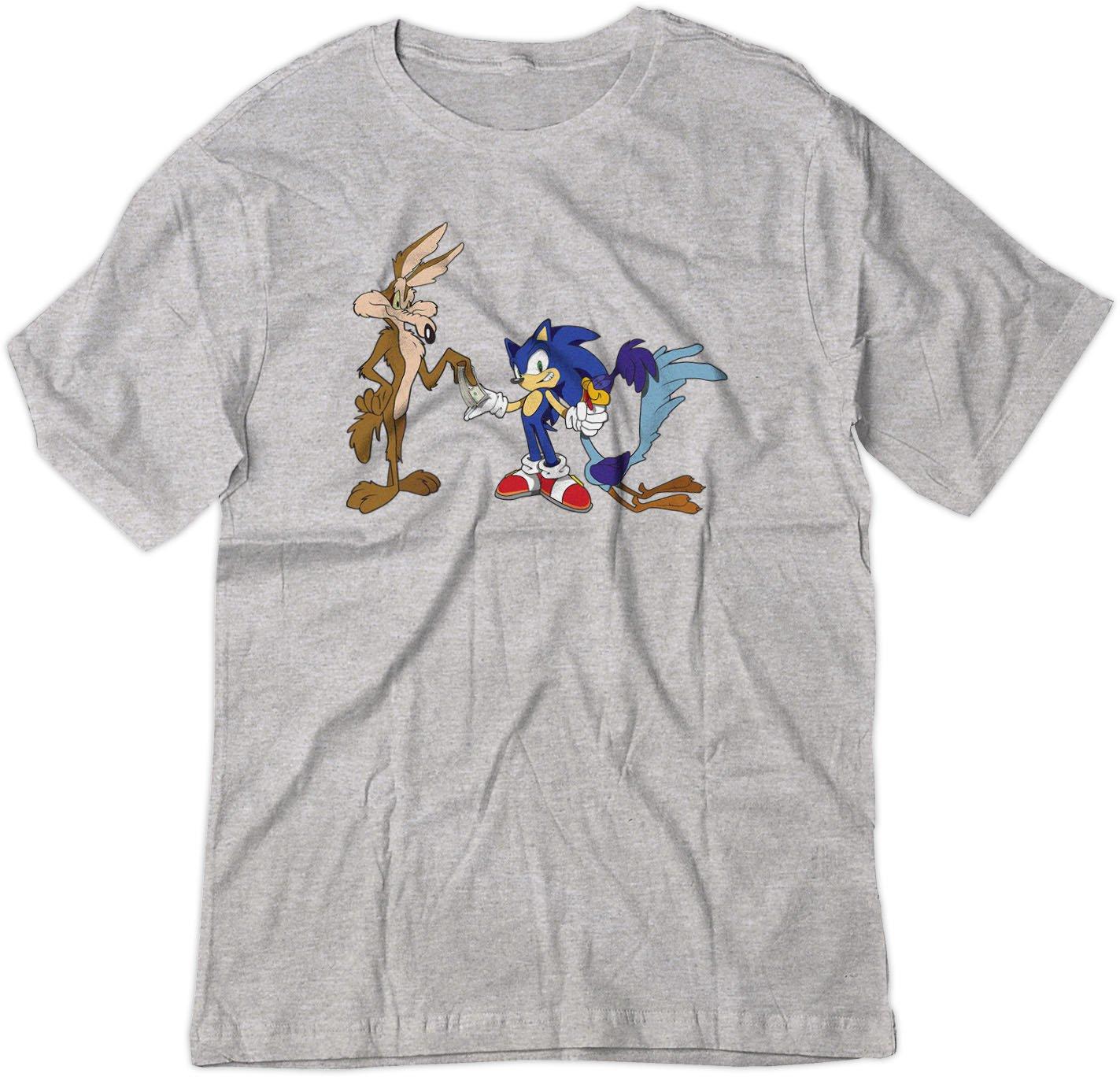 Roadrunner Coyote Pays Sonic Looney Theme Shirt Med Sport Grey 6397