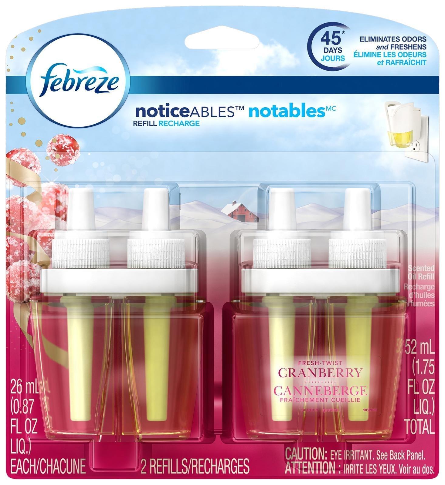 Febreze Noticeable Fresh Twist Cranberry Dual Oil Refill Air Freshener (2 Count, 1.75 Oz), 0.11 Pound