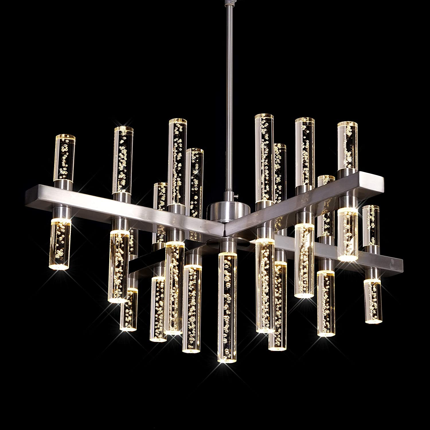 Meerosee Modern Chandelier Lighting Led Pendant Lights Fixture With Acrylic Shade Satin Nickel Island Chandeliers Ceiling Dining Room Living Room Contemporary Kitchen Dimmable Cool White Mixglass Com Br