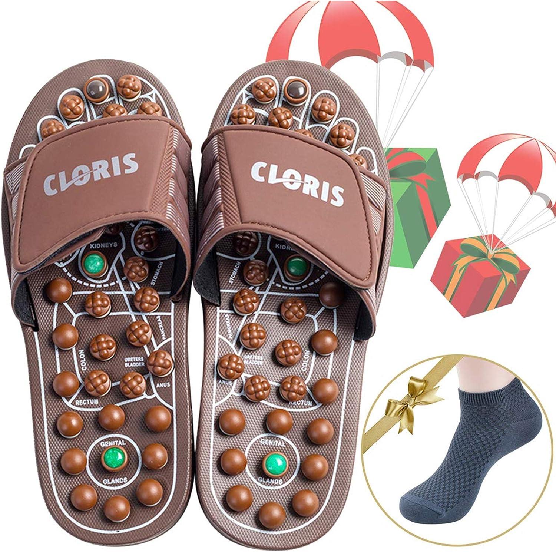 CLORIS Reflexology Foot Massagers Acupressure Massage Slippers for Men Wome, Relief Plantar Fasciitis Heel Arch Arthritis Neuropathy Pain Gift (Men Size 8-10, Women Size 9-12)