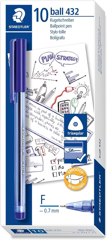 Staedtler Clear Ballpoint Stick 430M Ball Pen Line Tip Blue  Ink