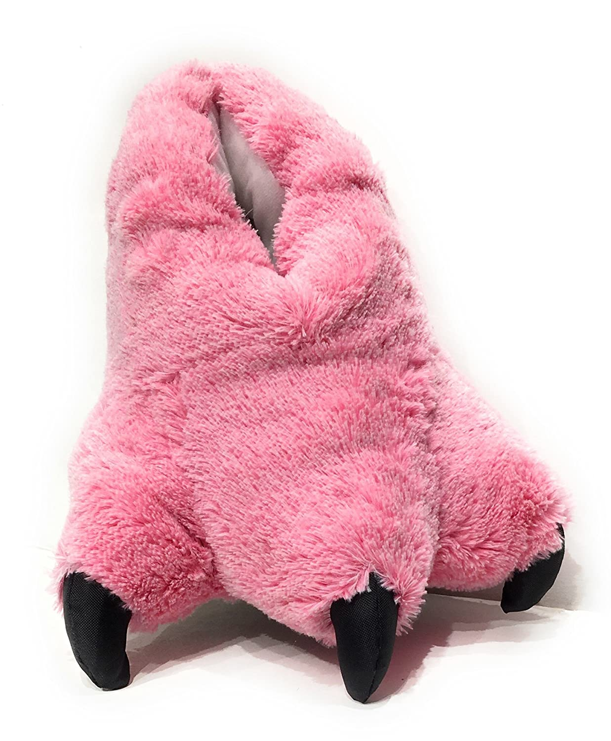 Pink Flamingo Sundial Wild Ones Furry Animal Claw Slippers for Toddlers, Kids and Adults