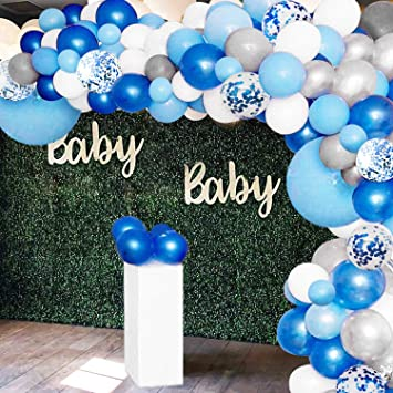 EXV Boy Baby Shower Decorations with Macaron Blue Balloons for Anniversary Wedding Boy Birthday Party Supplies Blue and Silver balloons garland kit 109Pcs