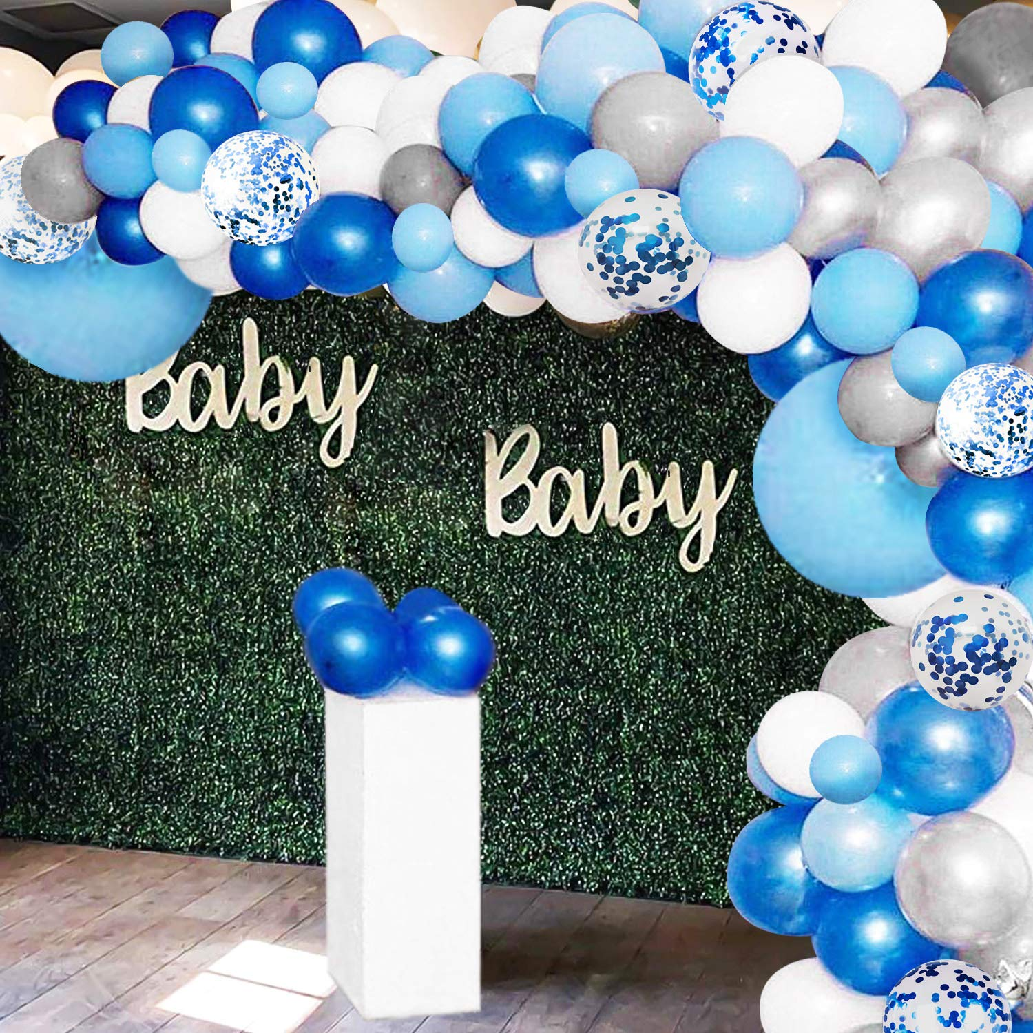 135 Pieces Blue Balloon Garland Arch Kit - White Blue Silver and Blue Confetti Latex Balloons for Baby Shower Wedding Birthday Party Centerpiece Backdrop Background Decoration by GuassLee