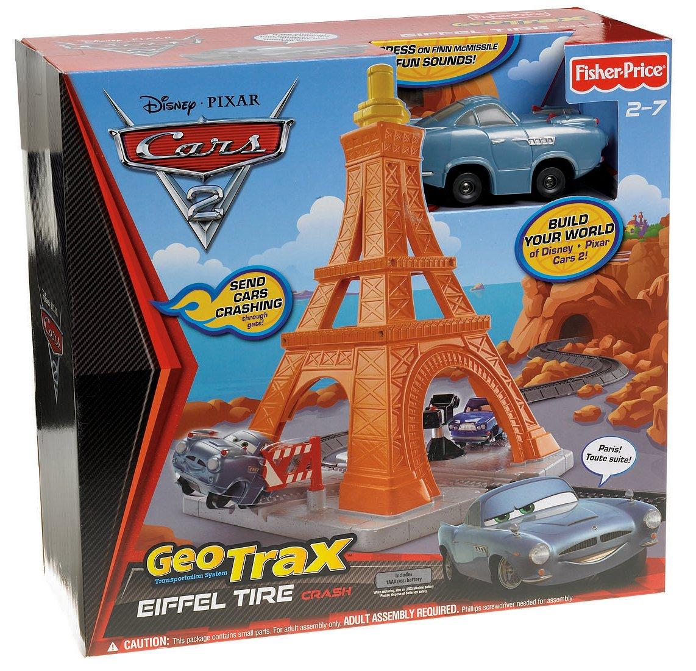 Amazon com fisher price geotrax disney pixar cars 2 eiffel tire crash toys games