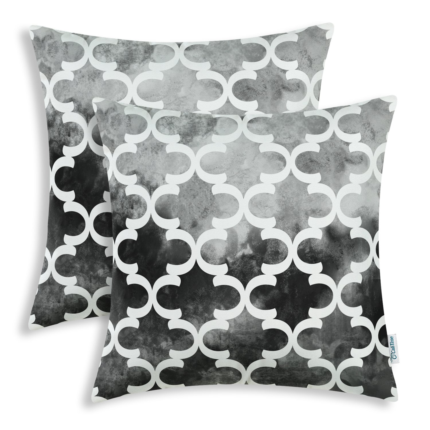 CaliTime Pack of 2 Cozy Fleece Throw Pillow Cases Covers for Couch Bed Sofa, Manual Hand Painted Print Colorful Quatrefoil Geometric, 20 X 20 Inches, Grey