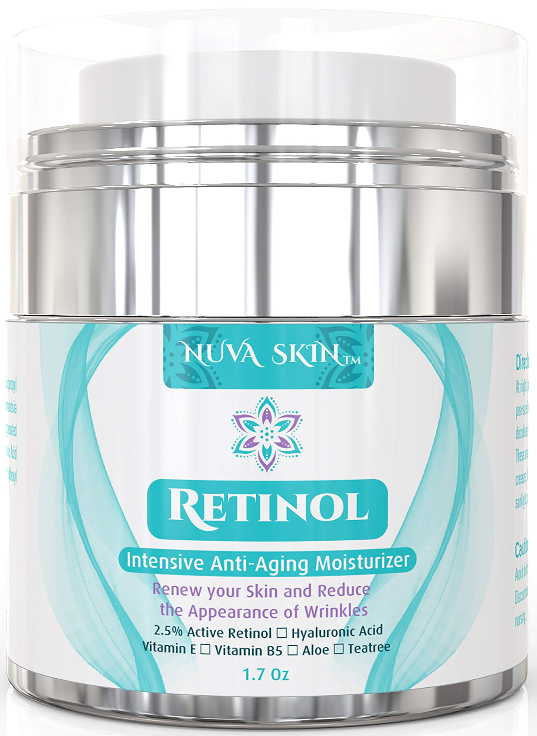 Nuva Skin Retinol Cream Moisturizer for Face and Eye Area - With Retinol, Hyaluronic Acid & Vitamin E - Anti Aging Treatment Reduces Wrinkles & Fine Lines - Gentle Day and Night Serum, 1.7 Fl Oz by Nuva Skin