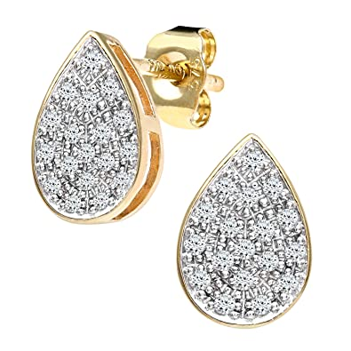 Naava Diamond Pear 9ct Gold Earrings T086Cn