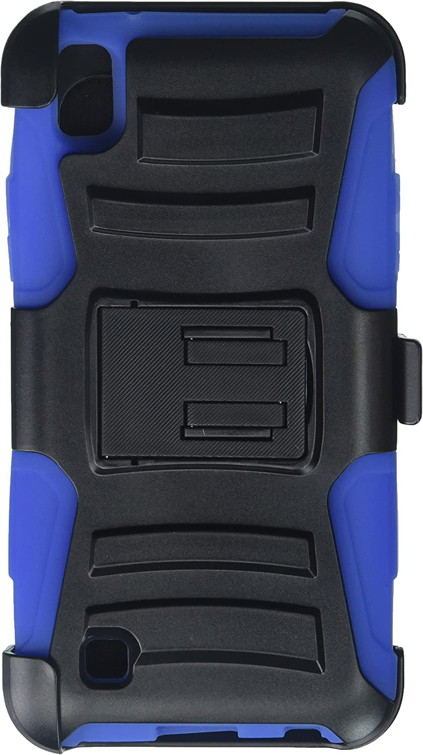 Eagle Cell Hybrid Armor Protective Case with Stand/Belt Clip Holster for LG X Power LS755/K450/K210 - SP Blue/Black