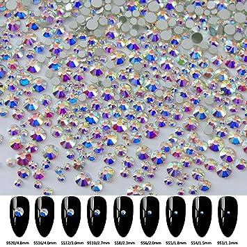 Amazon 2592pcs 9 Sizes 3d Nail Art Flatback Crystals