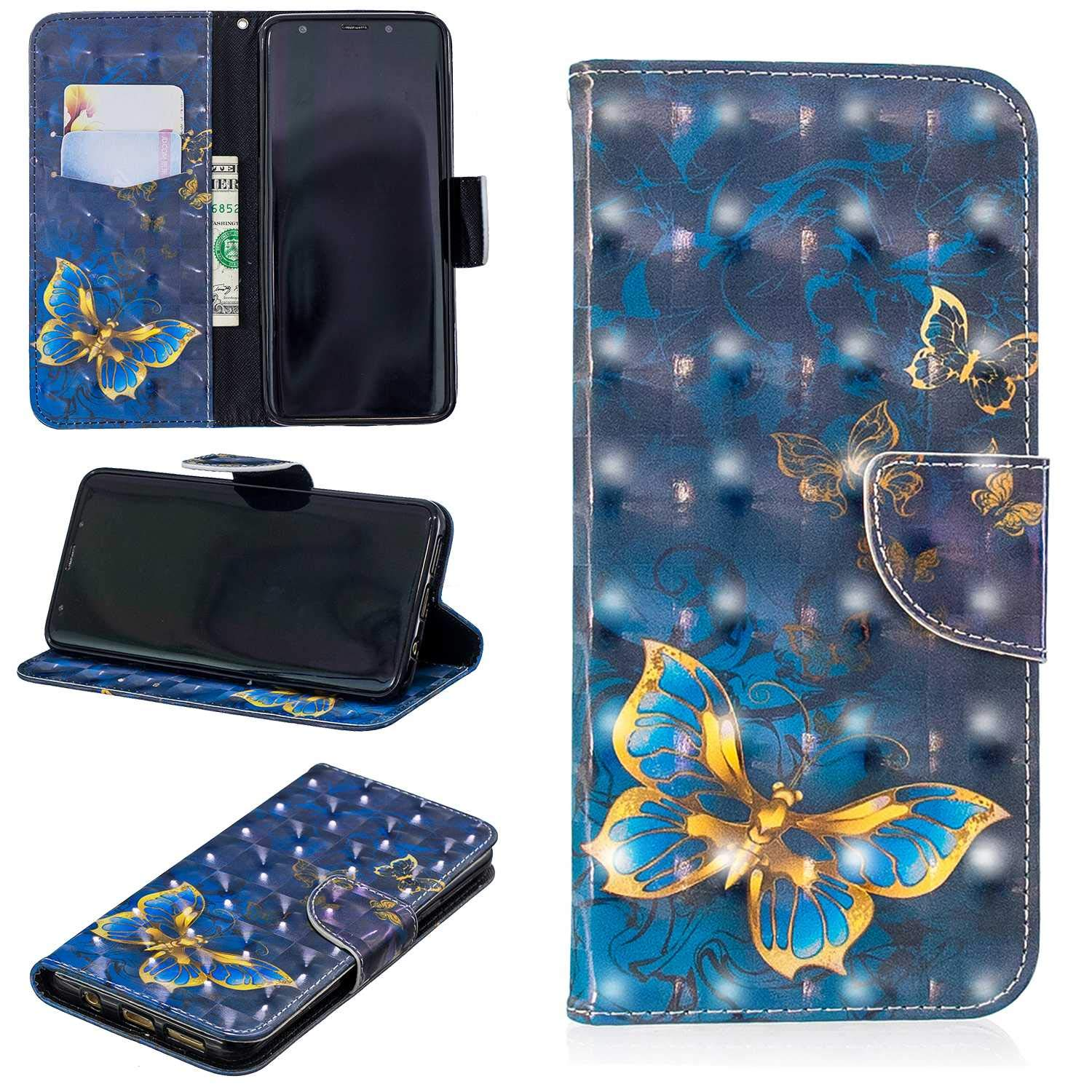 CUSKING Galaxy S9 Plus Case, Premium 3D Design Wallet Case Stand Flip Case with Card Holders and Magnetic Closure, Multi-Functional Shockproof Case for Samsung Galaxy S9 Plus - Blue, Butterfly
