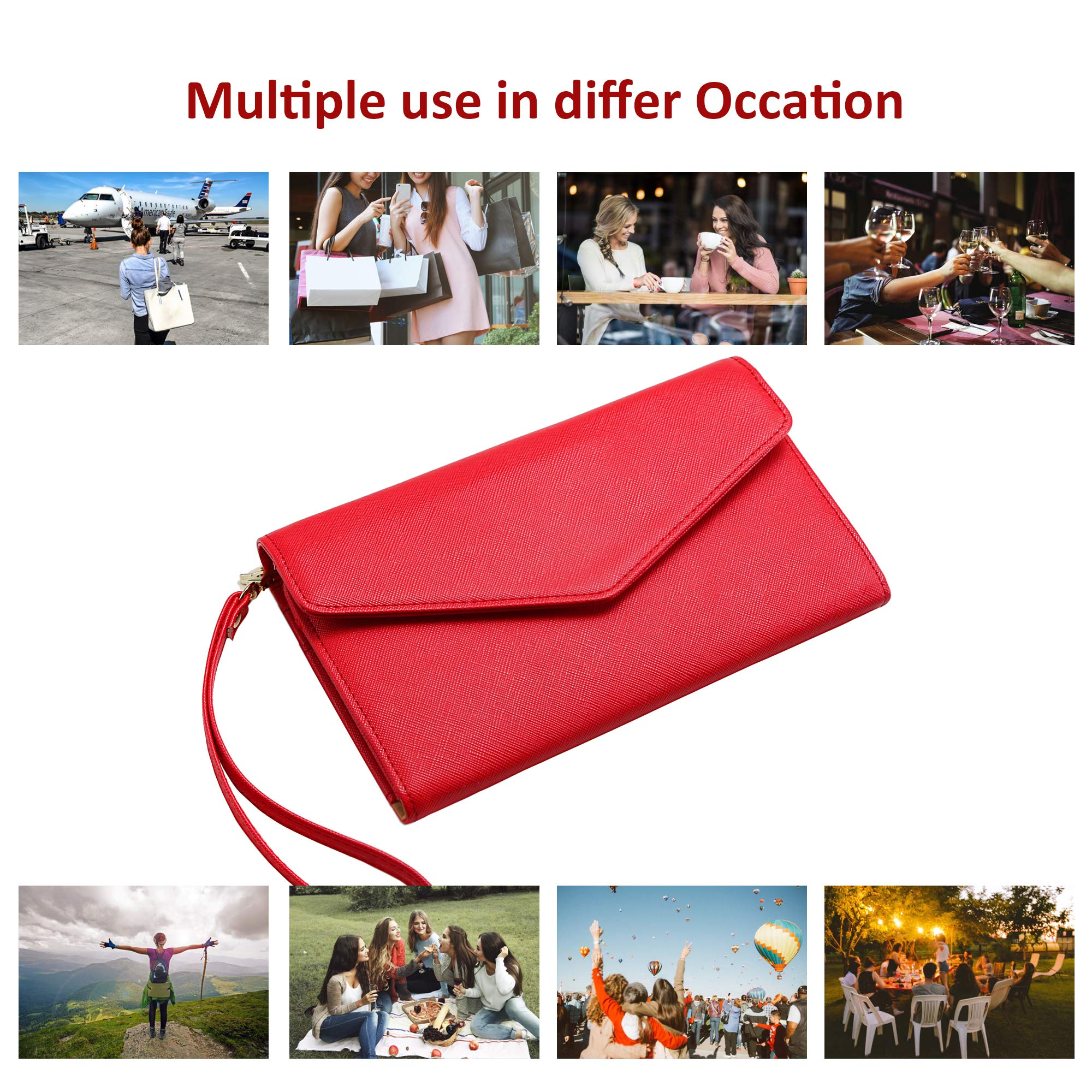 Krosslon Travel Passport Wallet for Women Rfid Wristlet Slim Family Document Holder, 11# Agate Red by KROSSLON (Image #7)