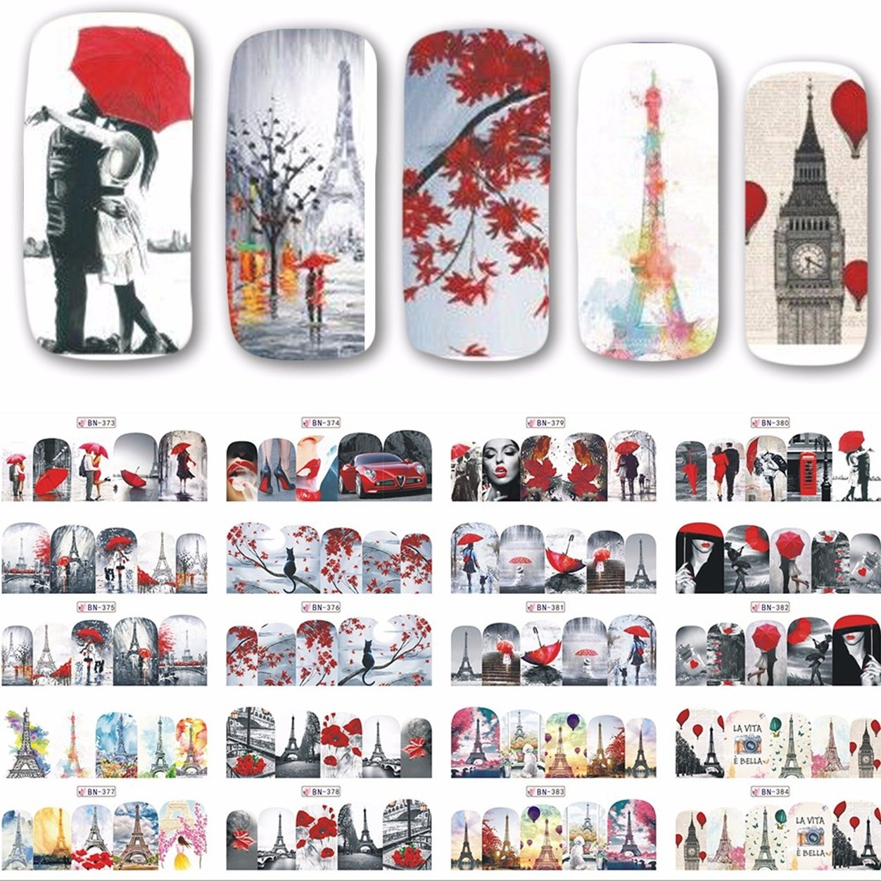 1 Sets Romantic Red Lady Nail Art Stickers Valentine Water Transfer Nails Wrap Paint Tattoos Stamp Plates Templates Tools Tips Kits Alluring Popular Christmas Holidays Stick Tool Vinyls Decals Kit