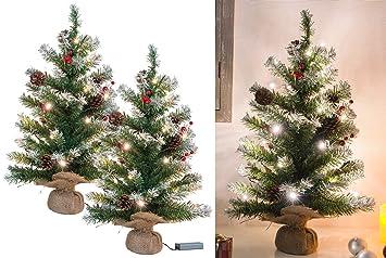 Mini Weihnachtsbaum Mit Batterie.Britesta Weihnachtsbaum Batterie 2er Set Deko Weihnachtsbäume Mit