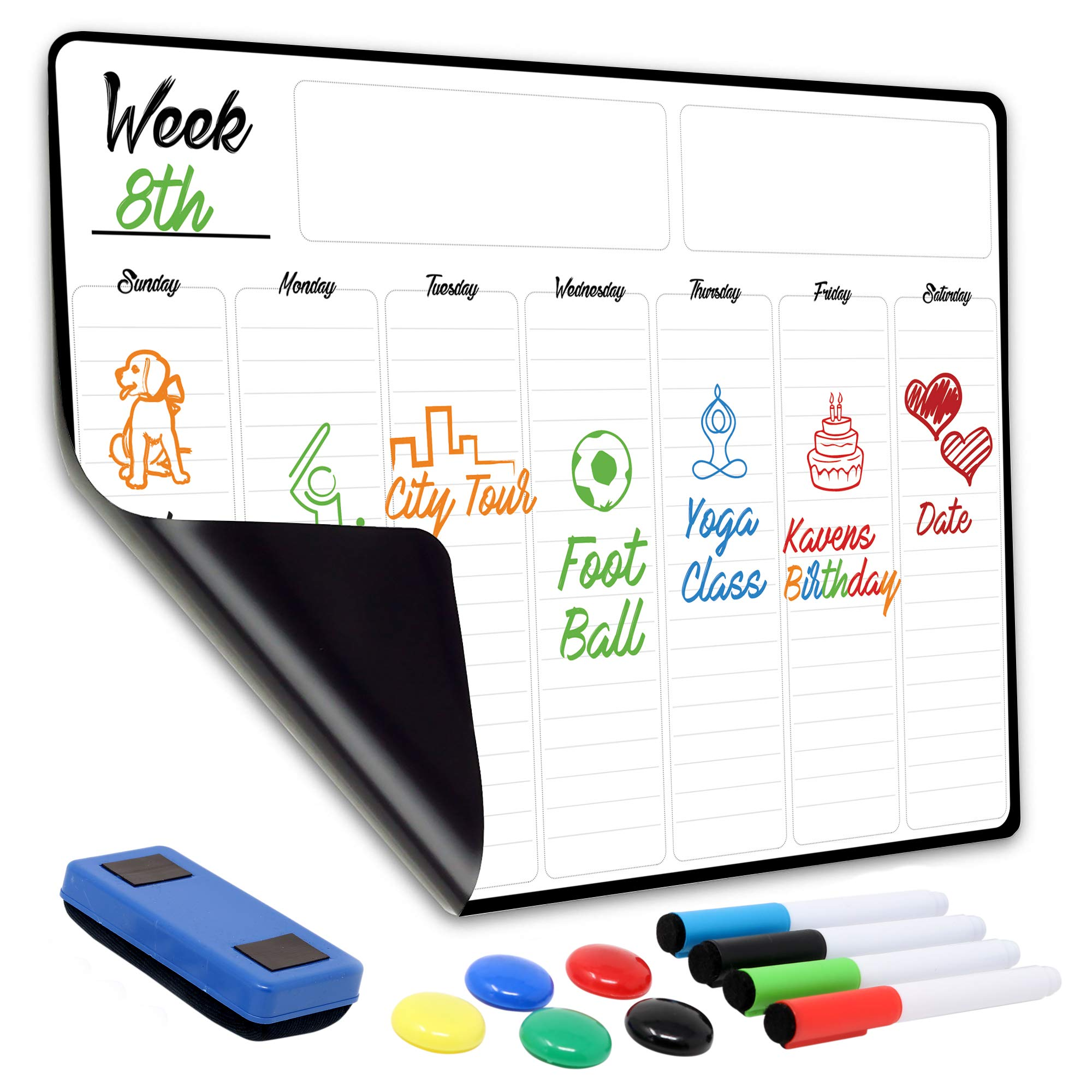 "Weekly Dry Erase Board Magnetic Calendar |13"" x 19"" Large Magnetic White Board for Fridge & Wall, No GHOSTING 
