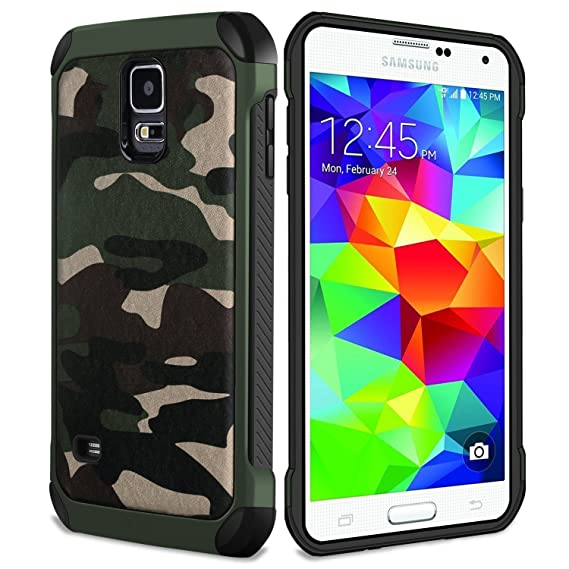 finest selection 38e87 110f8 FDTCYDS Galaxy S5 Case,Shockproof Armor Ultra Hybrid Rugged Camouflage  Cover Case for for Samsung Galaxy S5 - Camo Green