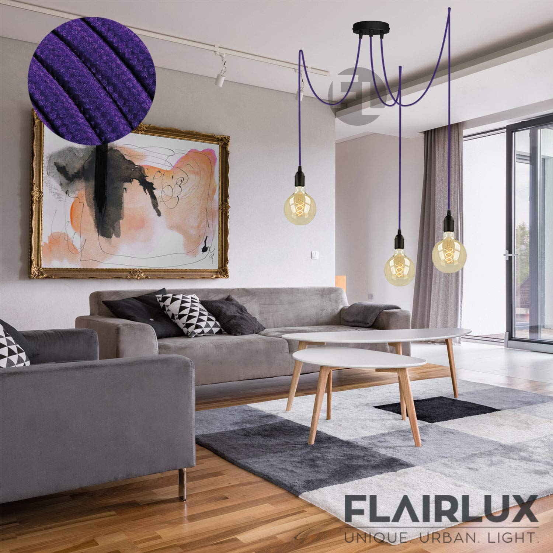Textilkabellampe modern DIY Pendellampe 3 flammig Deckenleuchte schwarz h/öhenverstellbar H/ängeleuchte mit 3x3 Meter Textilkabel