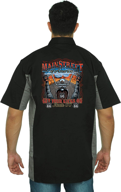 Mens Mechanic Work Shirt Main Street of America Get Your Kicks On