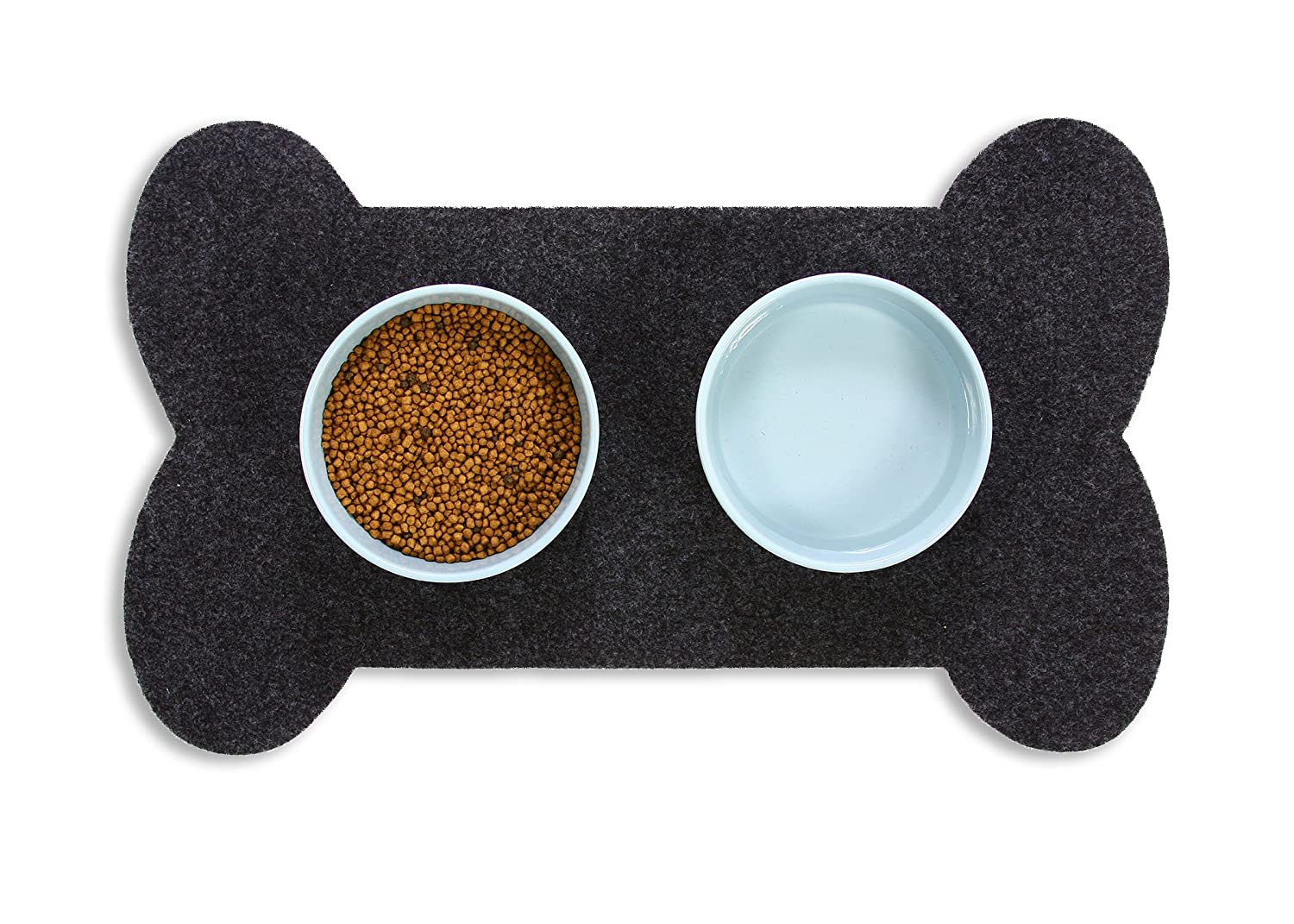 Resilia Feeding Mat for Dog Bowls – Protects Floors from Pet Food and Water, Bone Shape, Gray, 29.5 Inches X 18 Inches