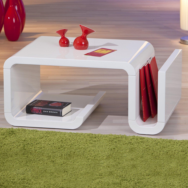 Table basse design pas cher blanc laqué