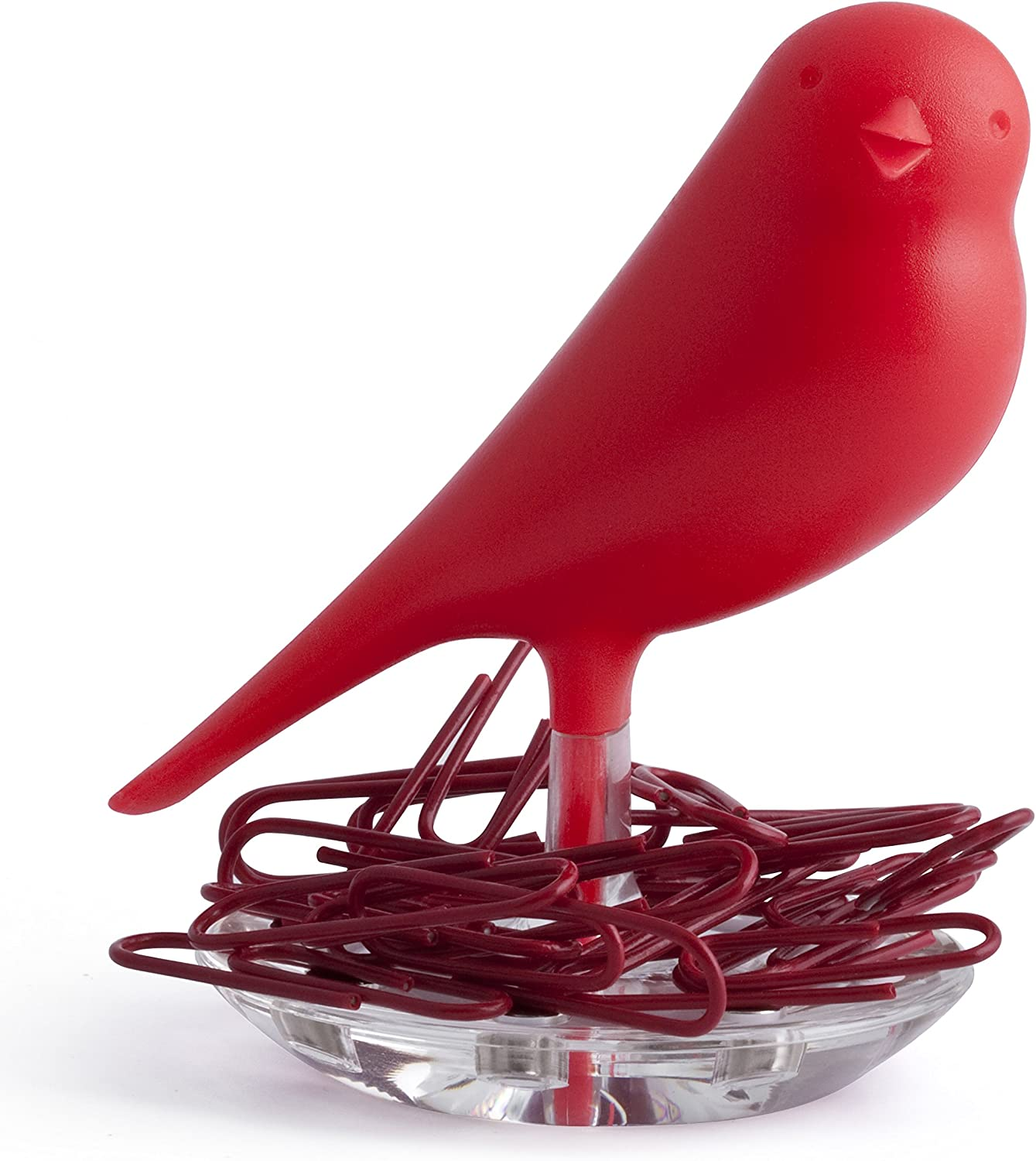 Red Qualy Nest Sparrow Paper Clip Holder