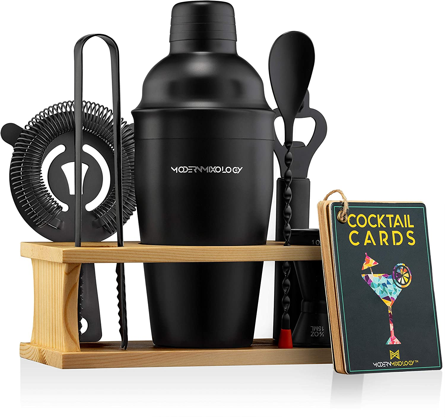 Mixology Bartender Kit with Stand | Black Bar Set Cocktail Shaker Set for Drink Mixing - Bar Tools: Martini Shaker, Jigger, Strainer, Bar Mixer Spoon, Tongs, Opener | Best Bartender Kit for Beginners
