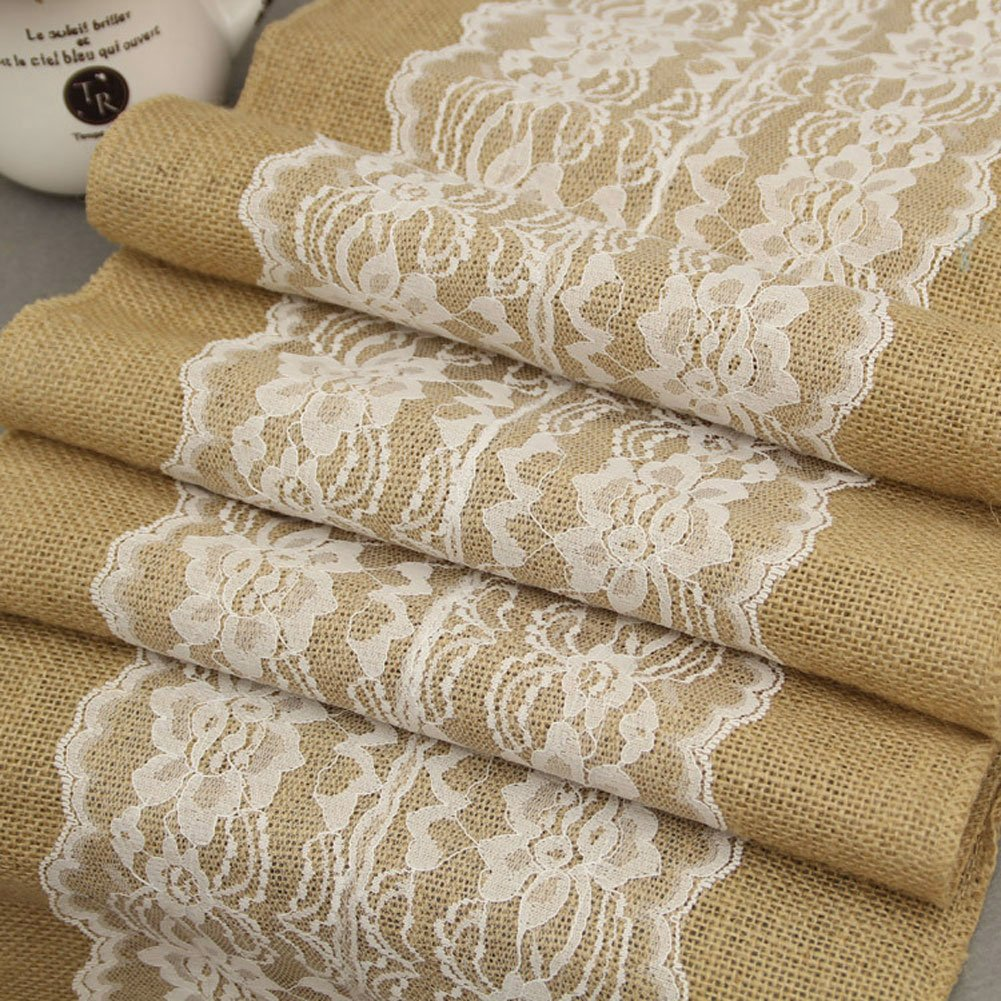 Burlap & Lace Table Runner (White Lace Flower, 12x120 Inches) Jute Hessian Country Outdoor Wedding Party Table Decoration Décor ,Custom Length Available