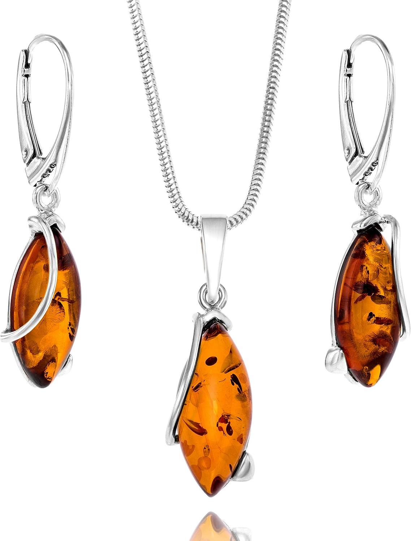 Copal Conjunto de joyas con Ámbar, plata de ley 925, colgante con Gota, con caja de joyas, idea regalo