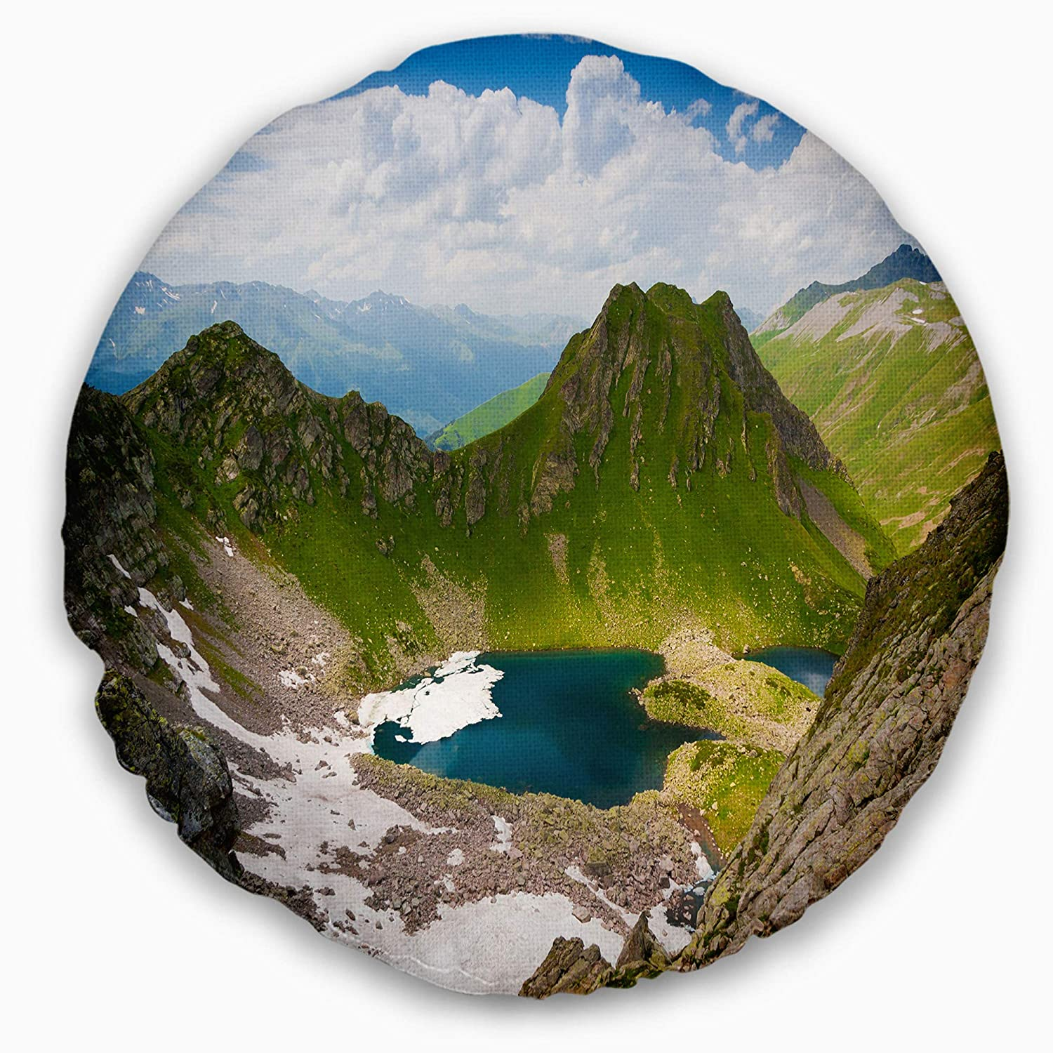 16 Designart CU13792-16-16-C Mountain Lake View on Bright Day Landscape Printed Round Cushion Cover for Living Room Sofa Insert Side Throw Pillow