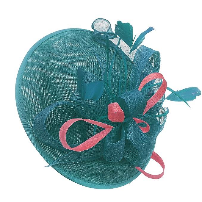 9b4e7f1efa751 Caprilite Teal Turquoise and Baby Pink Sinamay Big Disc Saucer Fascinator  Hat for Women Weddings Headband  Amazon.co.uk  Clothing