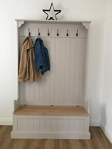 Tall Monks Bench with Coat Hooks Hall Storage Bench 4ft Wide