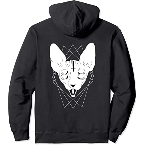Amazon.com: Black Death Metal Sphynx Cat Goth Hoodie: Clothing