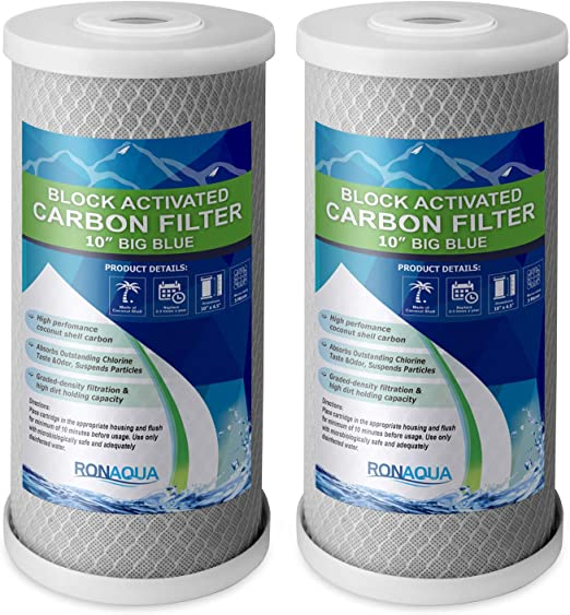 """Two Big Blue 10/"""" x 4.5/"""" CTO Block Carbon Filters 5 Micron"""