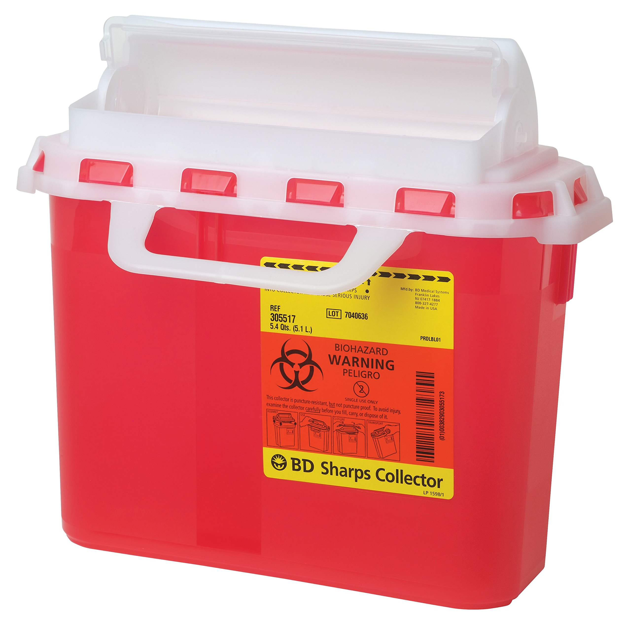BD Medical Systems 305551 Sharps Collector with Counterbalanced Door, Horizontal, 5.4 quart Capacity, 10.75'' Height x 12'' Width x 4.5'' Depth, Clear (Pack of 20)