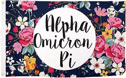 Alpha Omicron Pi Dark Pink//Light Pink Letter Sorority Flag 3 Foot x 5 Foot Banner Greek Letter Sign Decor AOII