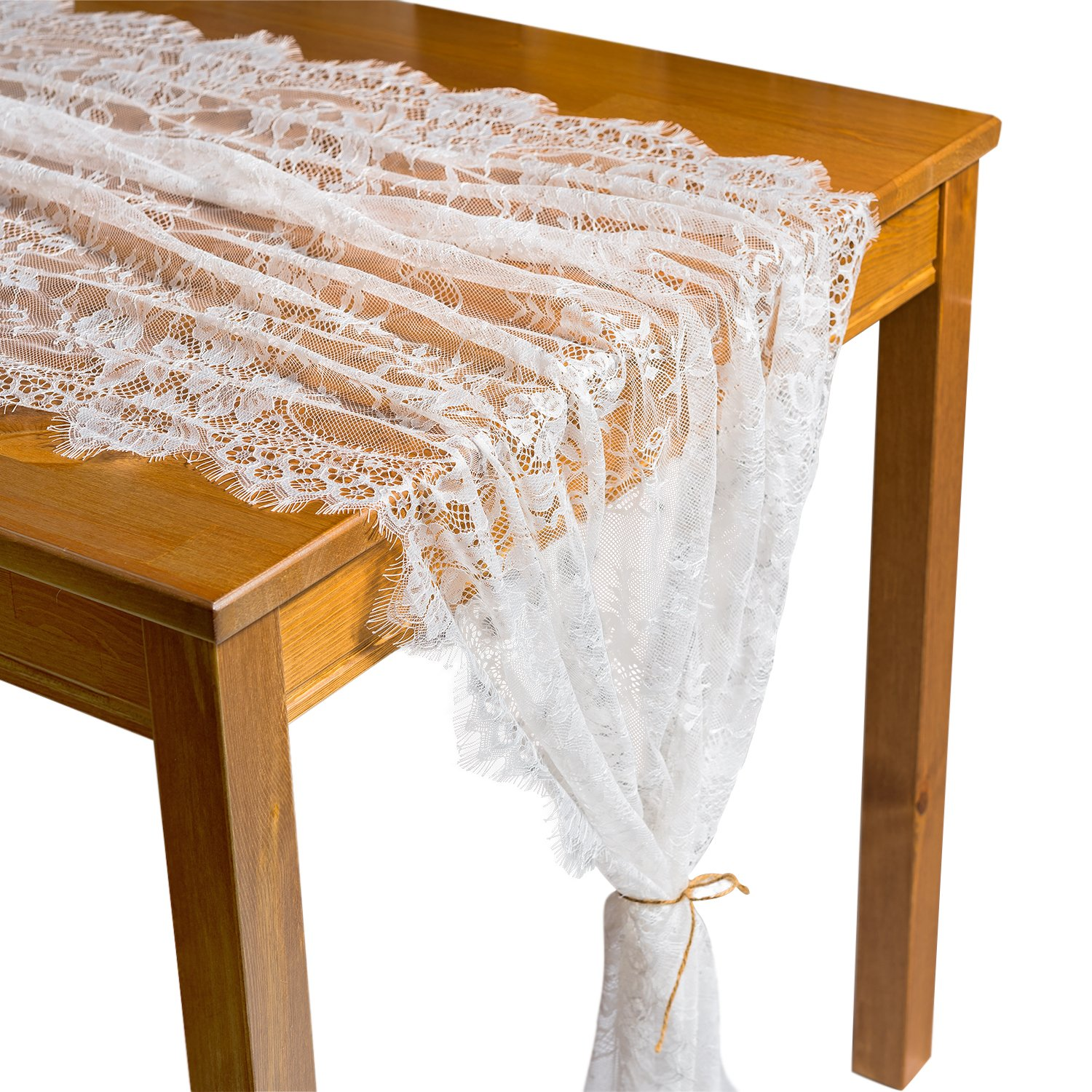 Crisky 32'' x 120'' Lace Table Runners for Wedding Lace Overlay with Rose Vintage Embroidered Rustic Wedding Reception Decor, Bridal Shower Decoration, Vintage French Country Farmhouse Decor