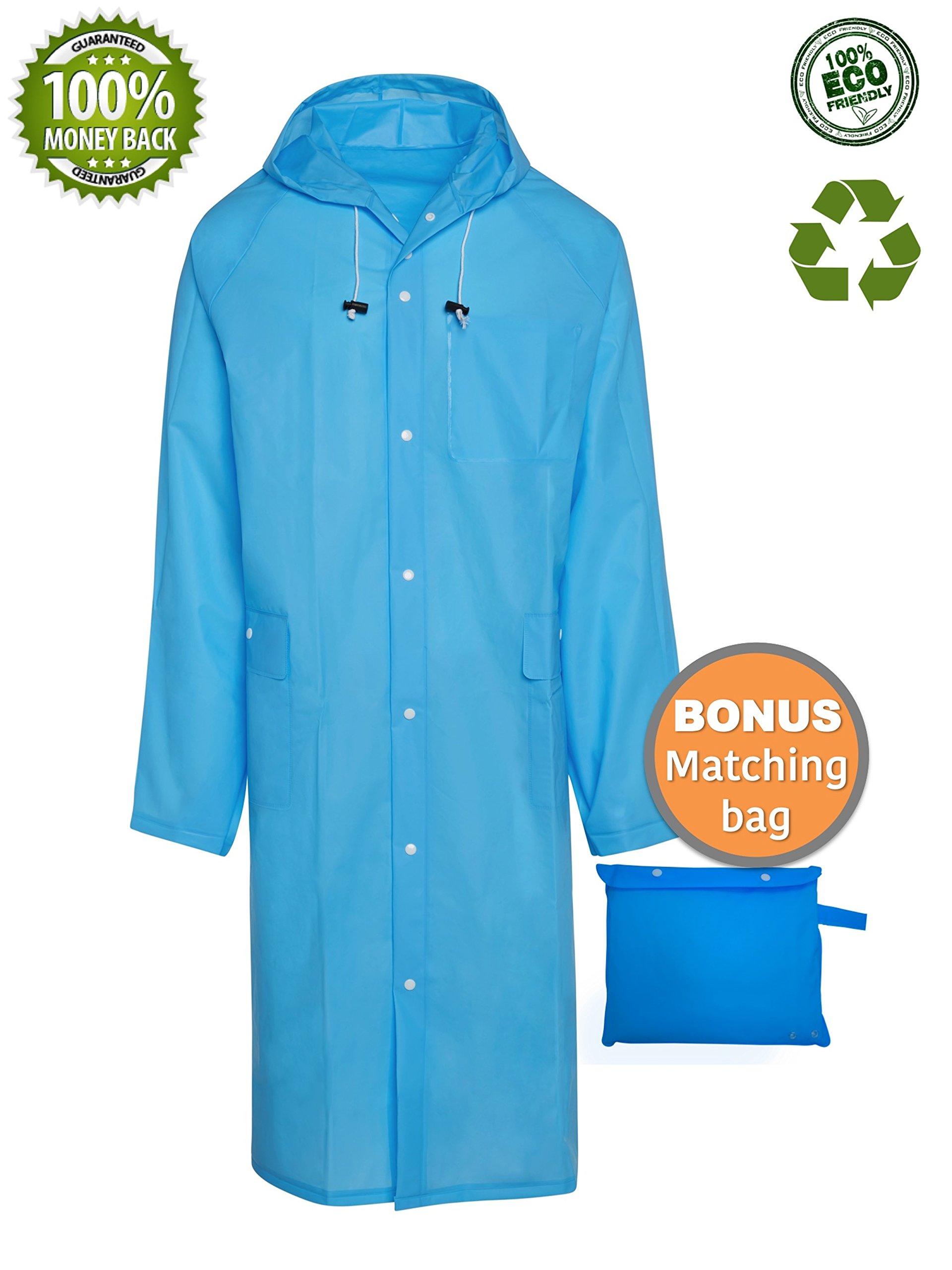 Blinq Portable Rain Poncho Rain Jacket Raincoat With