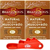 Billington's Natural Light Brown Muscovado Unrefined Cane Sugar, 16 Ounce (Pack of 2) with By The Cup Swivel Spoons