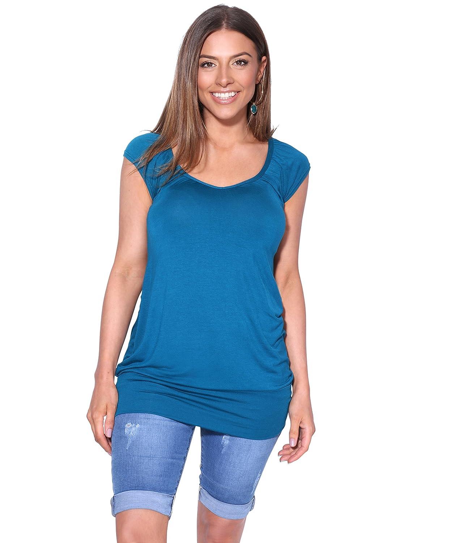 KRISP/® Womens Short Sleeve Long Top T-Shirt V-Neck Summer Jersey Blouse