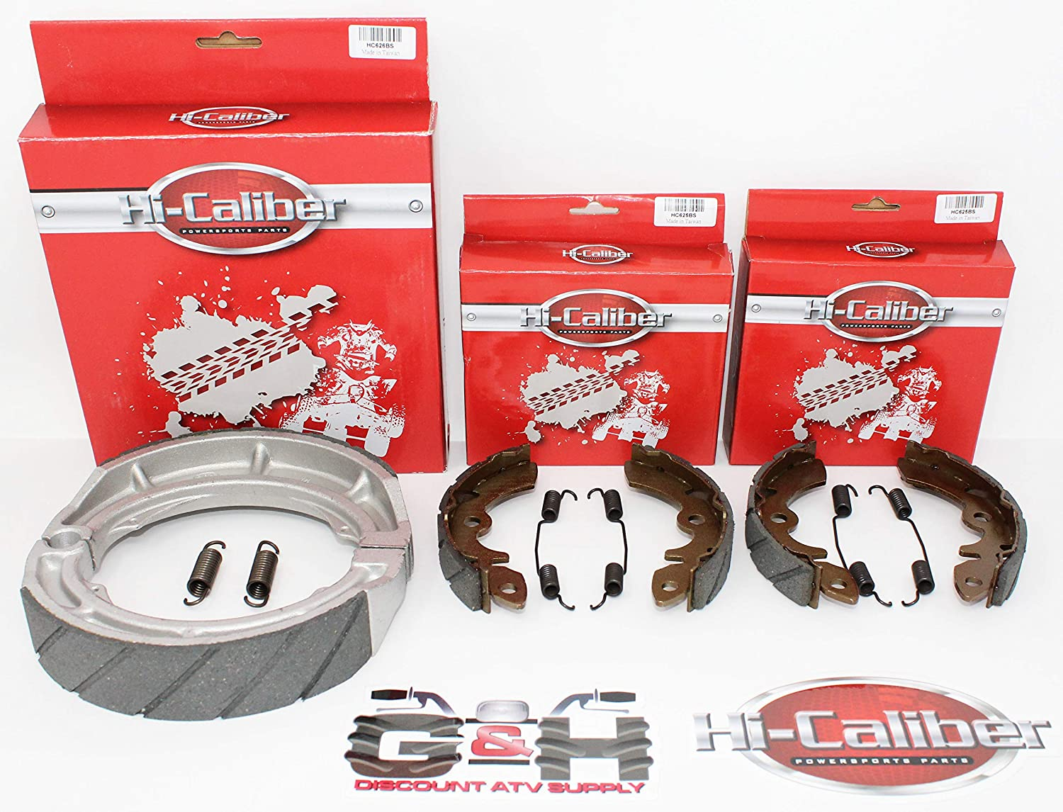 COMPLETE SET of WATER GROOVED Front /& Rear Brake Shoes with Springs for 1985-1989 Suzuki LT 250 300 Quadrunner ATVs