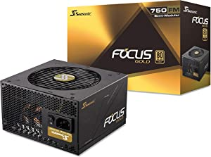 Seasonic FOCUS 750 Gold SSR-750FM 750W 80+ Gold ATX12V & EPS12V Semi-Modular7 Year Warranty Compact 140 mm Size Power Supply