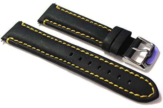 bd5cd5c48c0 22mm Black Leather Watch Strap With Yellow Stitch.  Amazon.co.uk  Watches