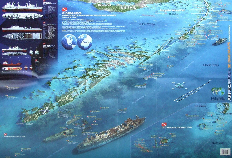 Florida Keys D Dive Maps Waterproof Map Art To Media - Fl map keys