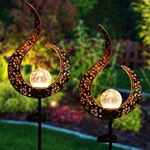 Joiedomi Crackle Glass Globe Metal Solar Yard Garden Stake Lights 2 Pack, Pathway Outdoor Stake Lights, Waterproof for Walkway, Pathway, Yard, Lawn, Patio or Courtyard
