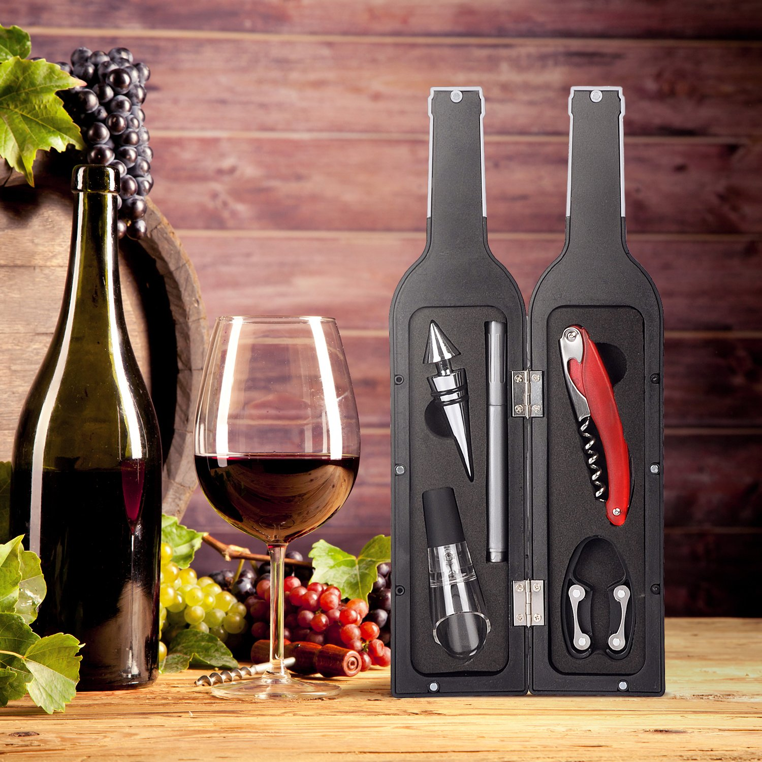 Wine Accessory Gift Set - Deluxe Wine Bottle Corkscrew Opener, Stopper, Aerator Pourer, Foil Cutter, Glass Paint Marker w/Reusable Drink Stickers in Gift Box, Wine Gifts for Wine Lover by Friend of Vines (Image #6)