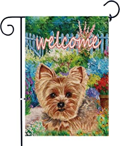Bonsai Tree Burlap Yorkie Garden Flags 12x18 Prime Double-Sided Summer Yard Outdoor Decorative Dog Flag Stopper & Anti-Wind Clip