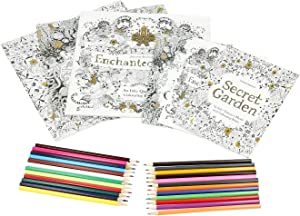 Shop LC Delivering Joy Set of 3 Lost Ocean Enchanted Forest and Secret Garden Coloring Books and Matching Large Coloring Books with 24pcs Coloring Pencils