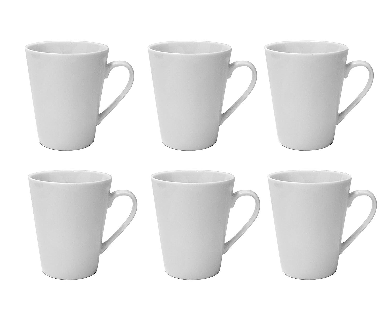 b2b9b1bf7aa Amazon.com: LEANDALE Plain White 10 OZ Ceramic Cup set,Coffee Mug Set (White-6  pcs): Kitchen & Dining