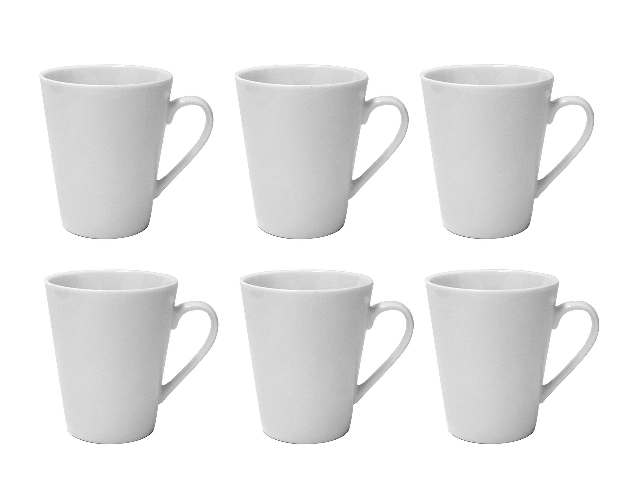 LEANDALE Plain White 10 OZ Ceramic Cup set,Coffee Mug Set (White-6 pcs)